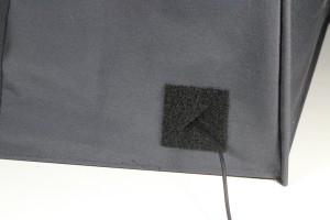Feedthrough patch on Eclipse MicroTent with power cord passing through