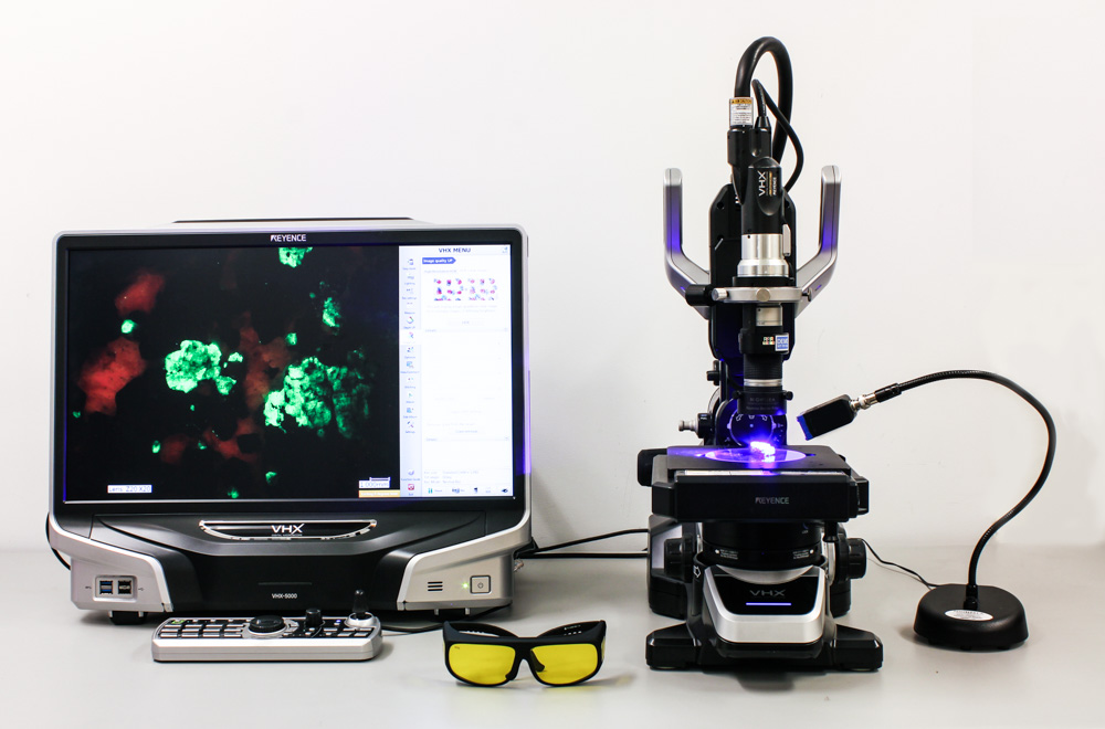 Fluorescent mineral sample imaged with the Keyence + NIGHTSEA systems