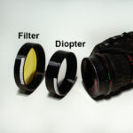 Diopter and barrier filter in custom adapters
