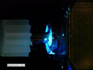 Epoxy on motor shaft, 20x