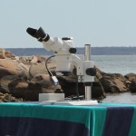 Stereo microscope set up on the beach, with the NIGHTSEA Stereo Microscope Fluorescence Adapter powered by a battery