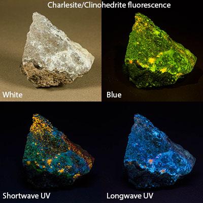 Charlesite + clinohedrite fluorescence