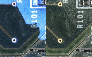 Conformal coating on circuit board, 20x, fluorescence under UV excitation and white light light