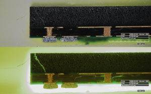 Fluorescent penetrant highlighting cracks in integrated circuit, 80x, white light and fluorescence