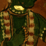 Detail of 17th century Indian painting, ambient light plus fluorescence. #1960.53