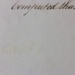 Detail of c.1800 handwritten book, facing page, white light.